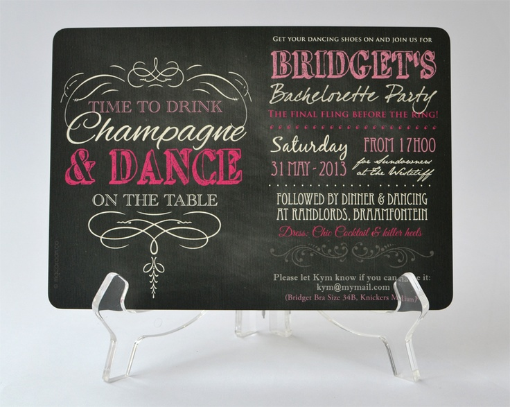 Perfect theme for celebrating a Bachelorette Party - Personalised Invitations - www.macaroon.co