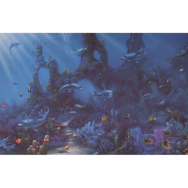 76 best wallpaper border images on pinterest for Dolphin paradise wall mural