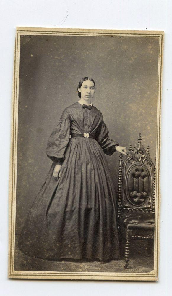 CDV Card,Vintage Photo,Young Woman,Hoop Skirt Civil War Revenue Stamp,