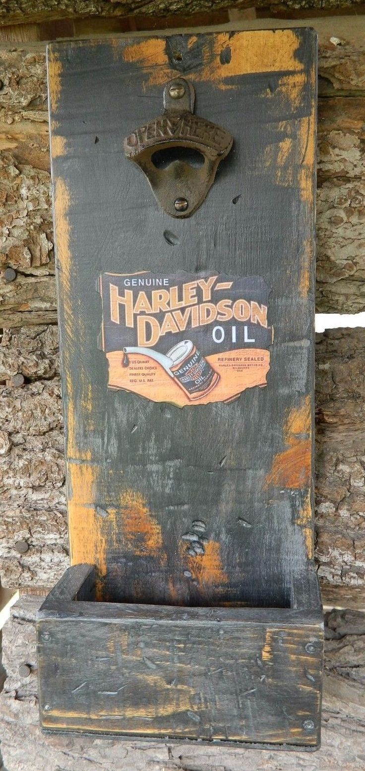 Man Cave Garage Wall Mounted Bottle Opener Harley Davidson Oil Label Distressed | eBay