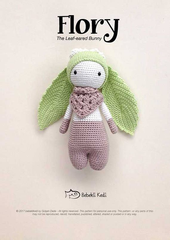 PATTERN!! FLORY the Leaf-eared Bunny /crochet pattern/ amigurumi