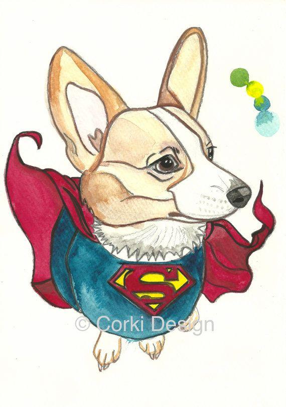 Super corgiman  Pembroke Welsh Corgi dog super hero by CorkiDesign, $24.00
