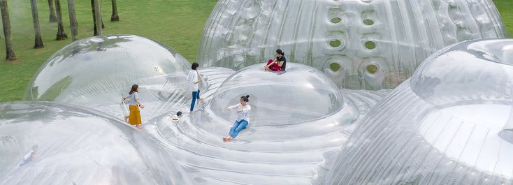 'air-mountain' by aether is an inflatable pavilion designed for shenzhen