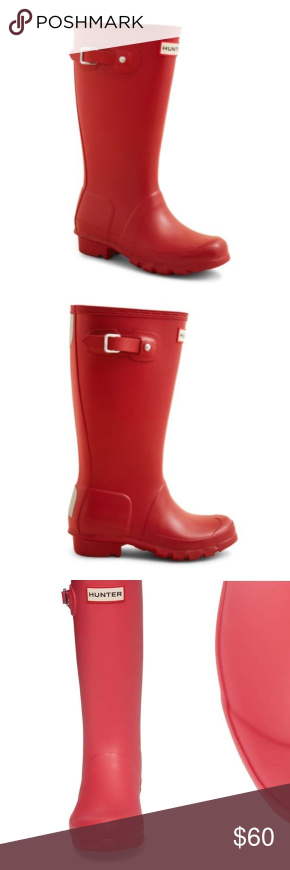 """Hunter Knee High Military Red Boots Size 4K 5W Hunter knee-high classic design fit for your little or big puddle splasher.  Size 4 kids. However fits a 5 woman perfectly even with Hunter boot socks!  Please see all pics for wear. Minor surface scratches to insides. Not noticeable when worn.   Fits true to size, designed to accommodate a sock Pull on, adjustable buckle at outside Reflective safety patches at back Comfort cushioned footbed 12.75"""" shaft height; 15"""" circumference  Man made…"""