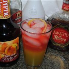 Sedation (3/4 oz vodka  3/8 oz amaretto liqueur  3/4 oz peach schnapps  3/4 oz rum  3/8 oz melon liqueur   1 1/2 oz orange juice  3/4 oz pineapple juice  3 oz cranberry juice  1 lemon peel )