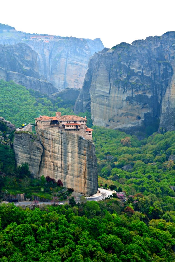 Beautiful Meteora, a landscape where holy monasteries were built upon sky high limestone formations.