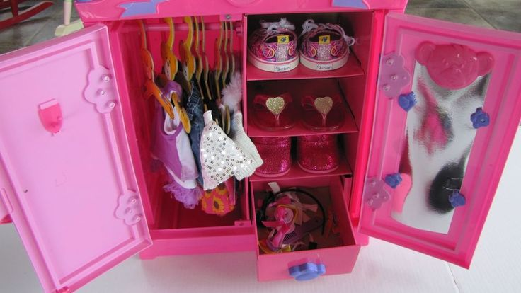 build a bear closet beararmoire pink armoire clothes wardrobe lot loaded nice pink clothes. Black Bedroom Furniture Sets. Home Design Ideas