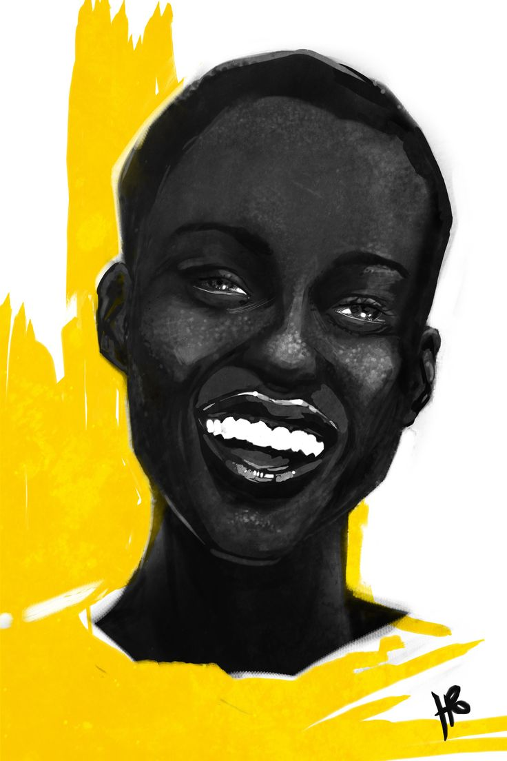 Lupita Nyongo portrait Just saw her on the cover of vogue again. What a smile that girl has... swoon...   Illustration by Hilbrand Bos