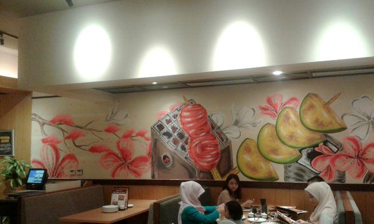 Mural wallpainting yakitori japanese asian