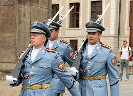 Soldiers of elite Prague Castle Guard welcome you at the gates of Prague Castle.