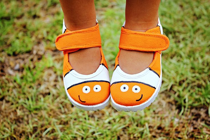 Girl's shoes - Nemo inspired Hand Painted Clown Fish Velcro Maryjane shoes for girls, baby, toddler sizes 1 - 10. $25.00, via Etsy. All so cute, hard to choose!!