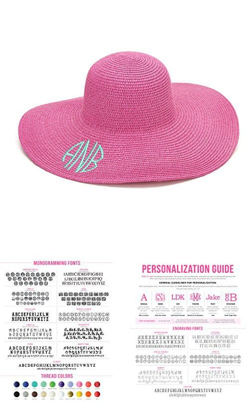 ec8ef06c488e0 Monogrammed Hot Pink Woman s Floppy Hat Personalized in 2018