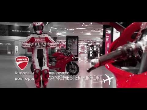 To mark the opening of the Manchester Airport Ducati store, motorcycle rider Darren Fry was involved in the making of a video in which he rides across the runway, into the terminal building, through the main shopping course and finally parks up outside the new store.
