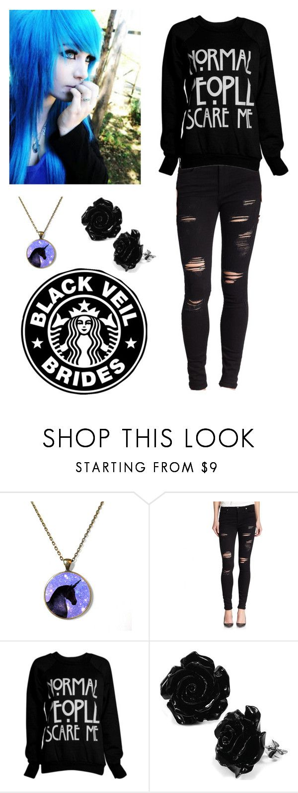 """""""Scene Outfit"""" by urock27 ❤ liked on Polyvore featuring True Religion, CO, BVB, scene, hair and bluehair"""