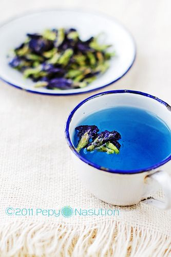 Blue natural colour from Bunga Telang (Clitoria Ternatea or bunga teleng or kembang teleng or or bunga biru) is also known as Butterfly Pea or Blue Pea Vine in English. Native to tropical equatorial Asia, but has been introduced to Africa, Australia and America.