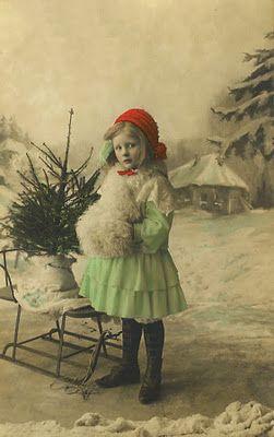 Vintage Snowy Christmas Girl