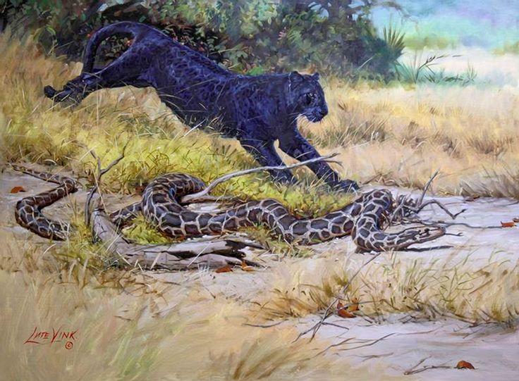 Vink, Lute (b,1961)- Panther & Snake- 'Jungle Book'