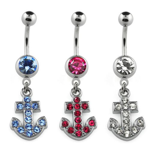 Surgical Steel Crystal Anchor Belly Button Ring | eBay