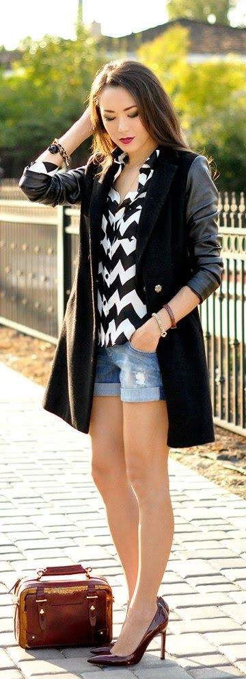 Chevron Shirt & Leather Arms Coat # Fall to Summer Fashion