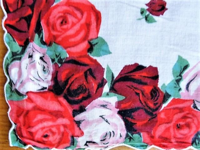 50s Beautiful VINTAGE Printed Red ROSES Hanky Colorful Floral Handkerchief To Frame Collectible Hankies To Collect Give As Gift