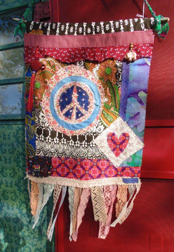 Boho Hippie Prayer flag Peace flag love by TheSleepyArmadillo