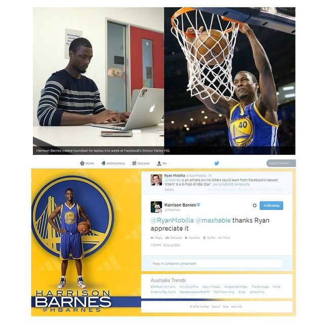 After reading a great @mashable article on #NBA player @HBarnes, it became clear he was a positive online reputation example for other athletes to learn from. Then he kindly responded to @ryanmobilia's tweet about it and confirmed he 'gets it'. #thinkbeforeyoupost