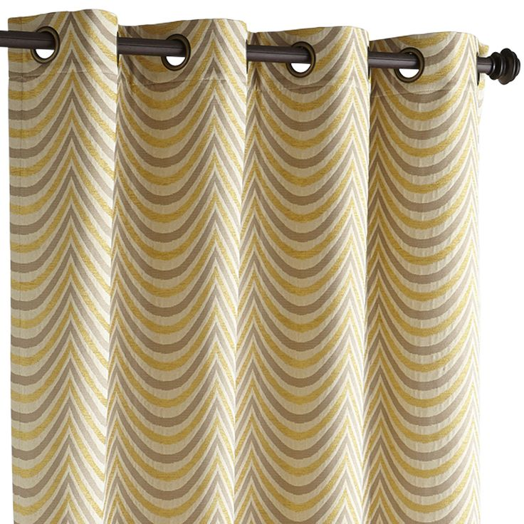 Scallop Curtain - Gold & Gray