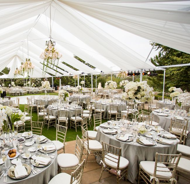 White Tented Reception // Photo: Samuel Lippke Studios and Allan Zepeda // Wedding Planning: Details Details // TheKnot.com