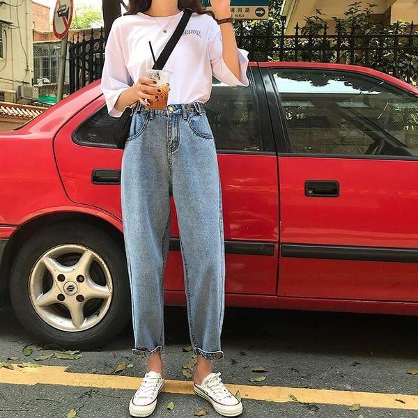 Vintage Loose High Waist Boyfriend Jeans Boyfriend Jeans Aesthetic Clothes Fashion