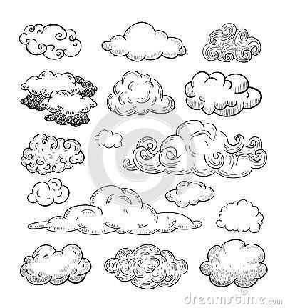Doodle Collection Of Hand Drawn Vector Clouds. Sto…