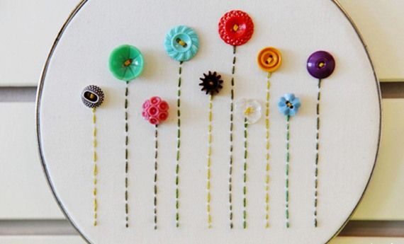 embroidering with buttons