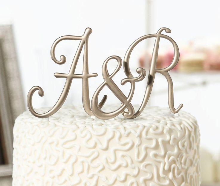 Gold Monogram A-Z Cake Topper