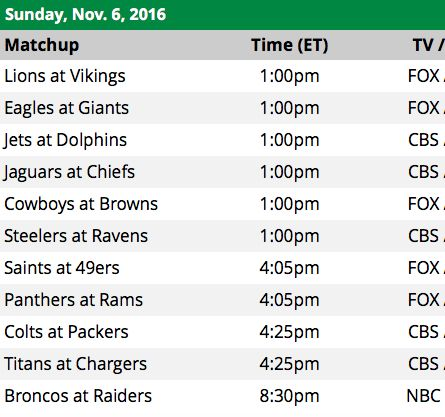 NFL Sunday Schedule for week 9 2016