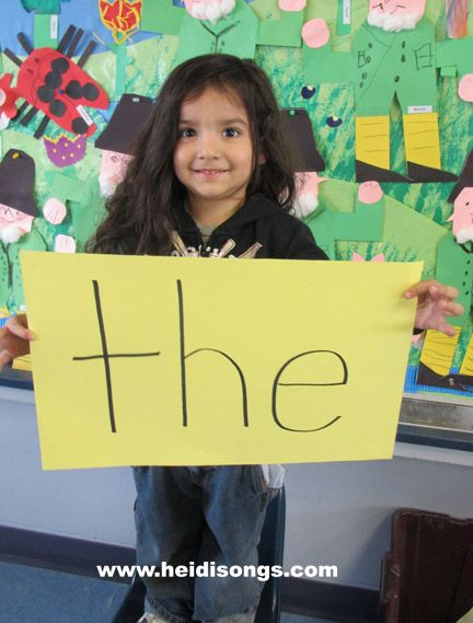 "Pinner said, ""Take a picture of each child holding a sight word. Then make a power point presentation with those pictures of each child holding the words, and use it to drill the children on the words.... I did this last week and emailed the powerpoint to the parents so they can use it to practice at home. It was a HIT! :)"". What fun!!"