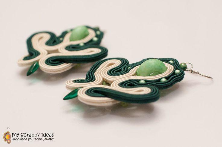 Simple but pretty, handmade soutache earrings. Two-sided original design by Soutache.MyScrappyIdeas.com