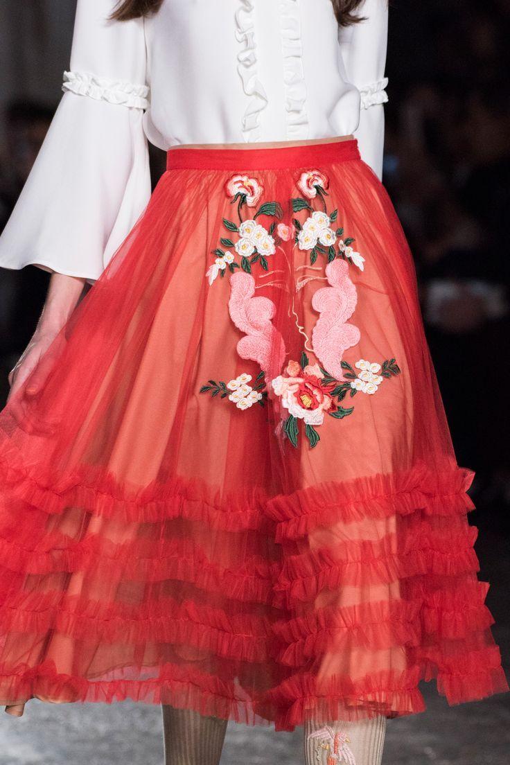 sheer red frill applique midi skirt runway Vivetta Fall 2016