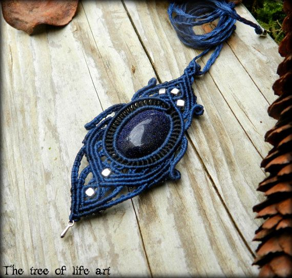 Macrame pendant with blue Sandstone/Night sky by TheTreeOfLifeArt