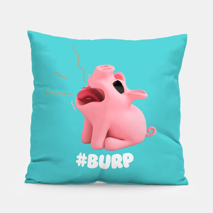 Rosa the Pig Burp Blue Pillow, Live Heroes