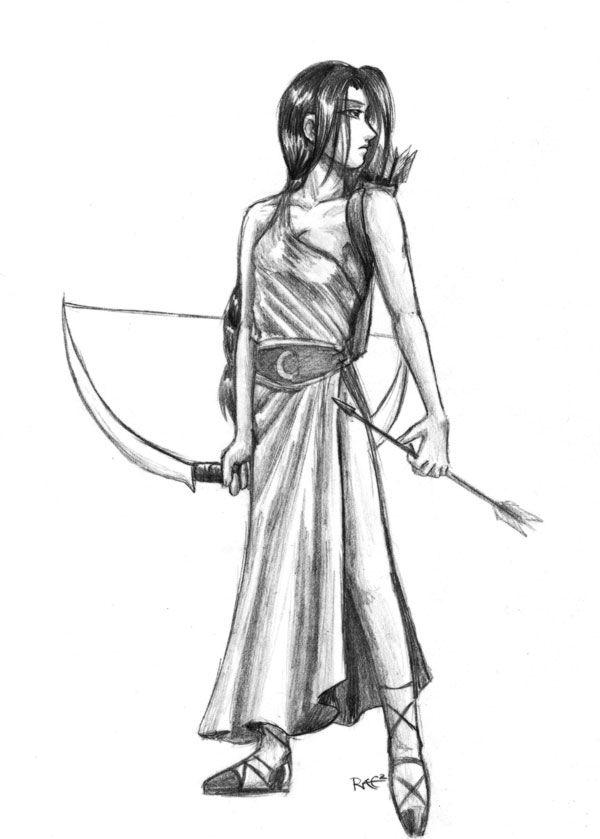 greek goddess artemis pencil drawing
