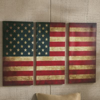 Country home decor, the american flag in a tryptic split.