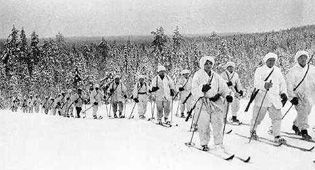 In the Winter War Finland stood alone; other countries offered only sympathy and modest assistance. Finnish ski troops inflicted heavy casualties on the Russian army. Finland's survival against overwhelming Russian forces became legendary all over the world. (not my caption)