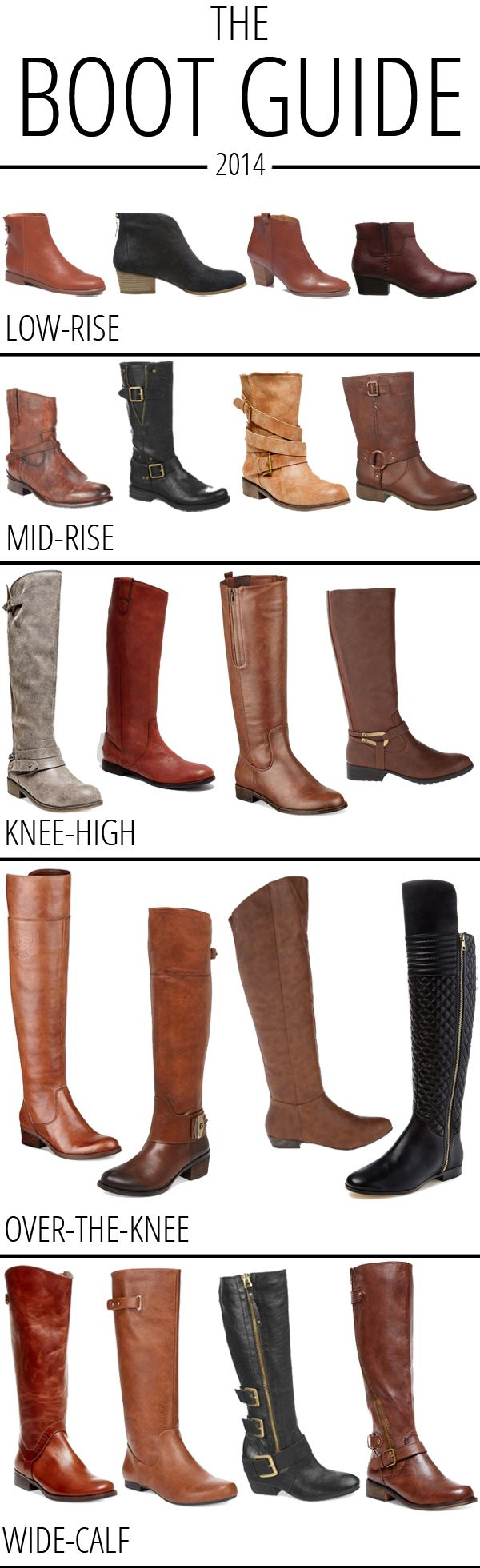 The Boot Guide 2014: favorite low-rise, mid-rise, knee-high, over-the-knee and wide-calf boots!