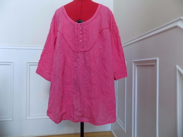 SALE! ALWAYS FREE SHIPPING!  Bubblegum Pink Smock Top Peasant Blouse Roaman's Plus Size 22W 2X 100% Cotton  | eBay