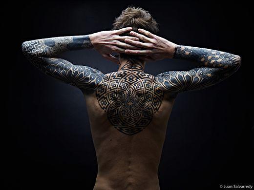 Upper back and full sleeves from Tattoo Inspiration: Nazareno Tubaro