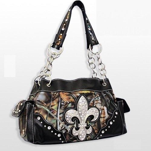 BLACK Camo Handbag Western Fleur De Lis with Rhinestone Camouflage Fashion Purse by BNB, http://www.amazon.com/dp/B00B0F1H10/ref=cm_sw_r_pi_dp_bNgxrb0BVB92F