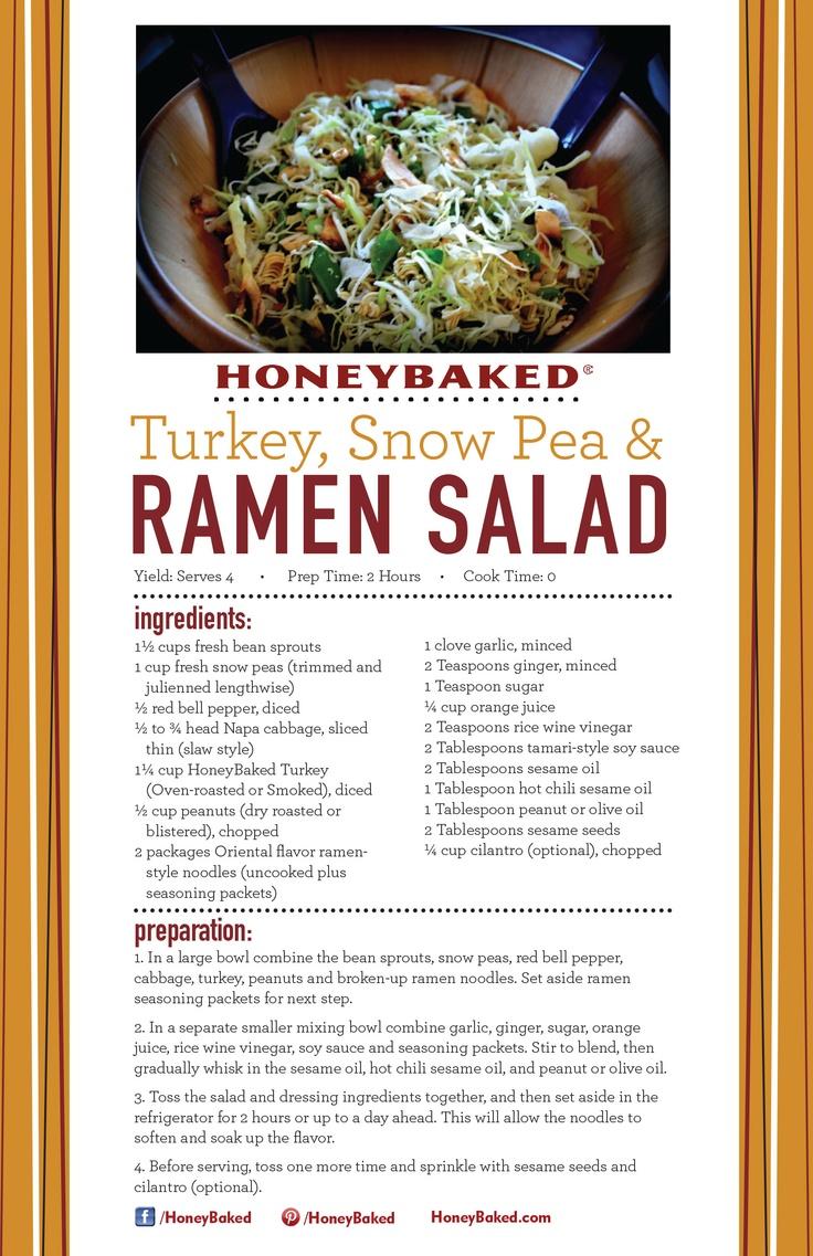 HoneyBaked Turkey, Snow Pea & Ramen Salad #HoneyBaked #Turkey #Salad #Recipe www.HoneyBaked.com