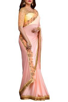 Peach Satin Embroidered Saree by Stylee Lifestyle, Saree with Blouse Piece #saree #indianwear #ethnicwear #traditional #indianoutfit #fashion #indianfashion #sareewithblouses #ootd #potd #colorful #pretty #beautiful #glitstreet