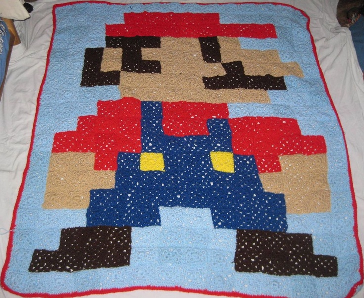 8-Bit Mario Blanket - Made from Granny Squares http://www.instructables.com/id/8-Bit-Mario-Blanket-Made-from-Granny-Squares/