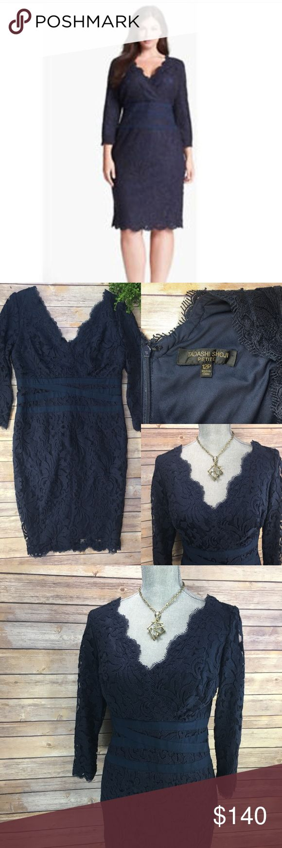 Tadashi Shoji Petite Sheath Lace Dress Stunning Tadashi Sheash Dress in Navy color.  Great, pre-loved Condition!  Size 12 Petite  3/4 length sleeve  Please see measurement photo to ensure fit prior to purchase. Tadashi Shoji Petite Dresses Midi