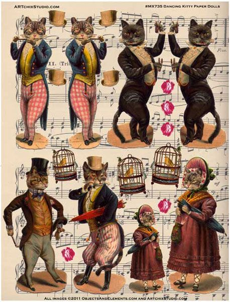 """""""Dancing Kitty Paper Dolls Bought in Paris, these images were originally from the late 1800s... Brought to us by our friends at Objects and Elements. Just cut the pieces out, attach everything with glue as desired and voila! Note: this sheet is printed on heavy cardstock so that you can cut the pieces out and enjoy!"""""""